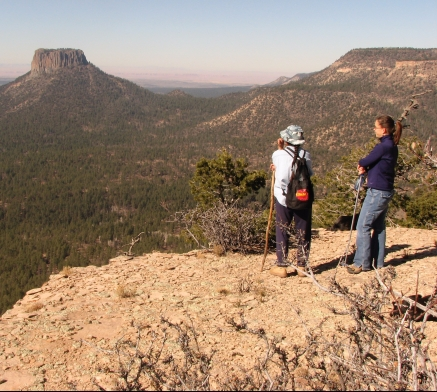 Dr. Powell and friend hiking on mesa